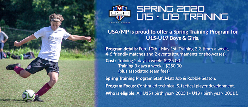USA/MP is proud to offer a Spring Training Program for U15-U19 Boys & Girls